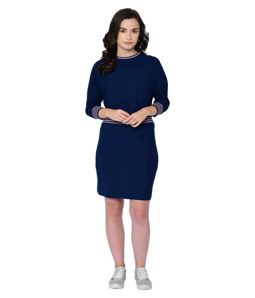 2Bme Cotton Blue Fit And Flare Dress