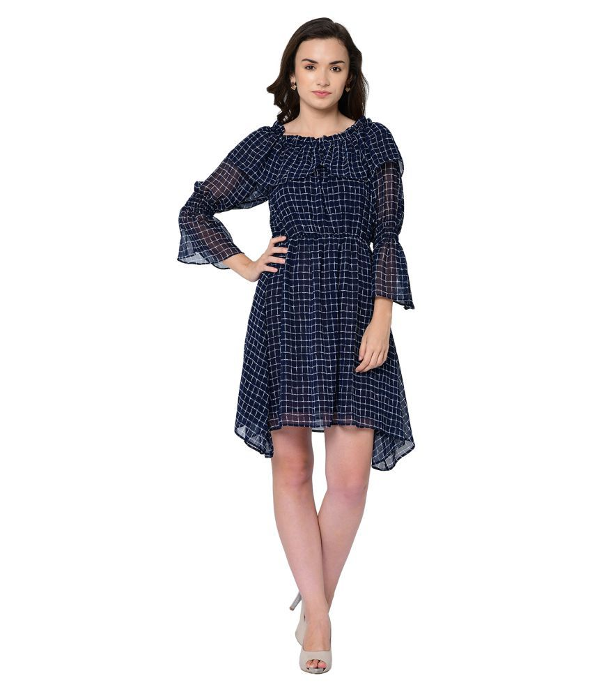 2Bme Poly Georgette Blue Fit And Flare Dress