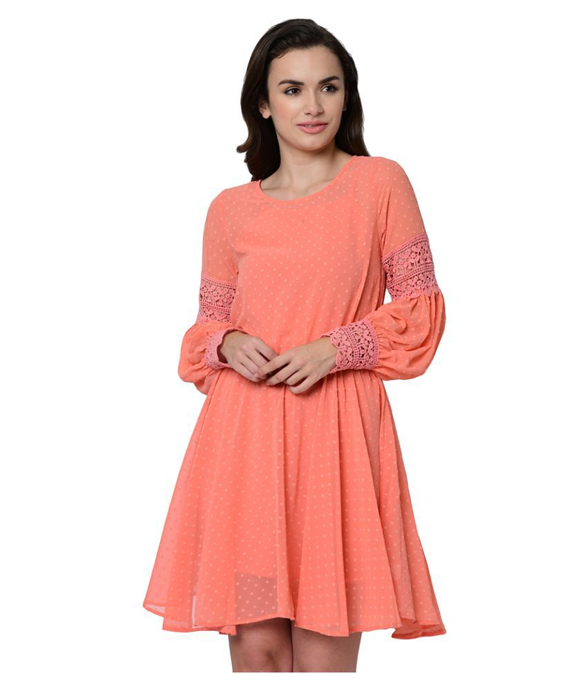 2Bme Polyester Orange Fit And Flare Dress