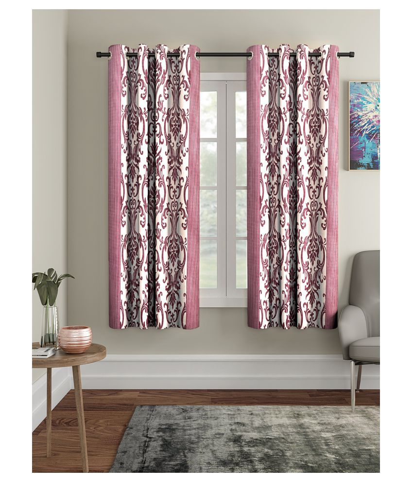 Cortina Set of 2 Window Semi-Transparent Eyelet Polyester Curtains Multi Color
