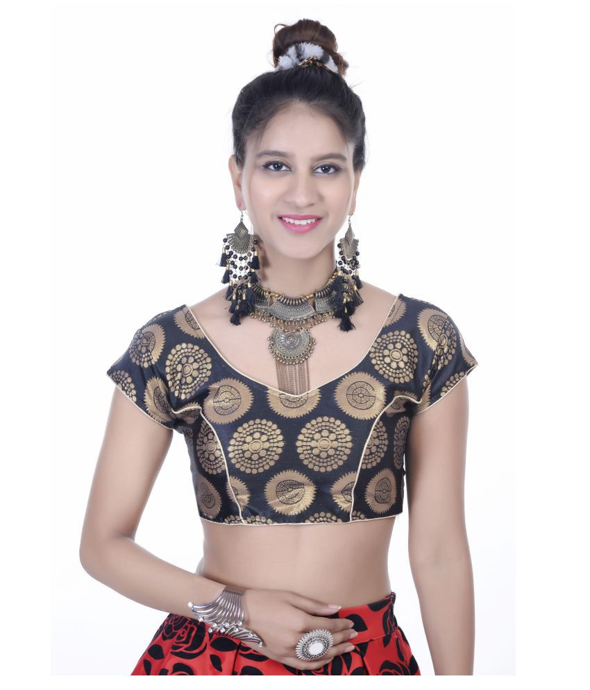 Daniya Trends Black Silk Readymade with Pad Blouse