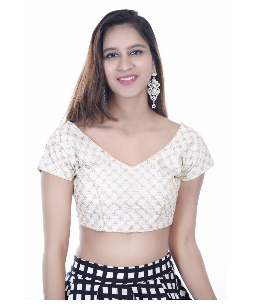 Daniya Trends White Silk Readymade with Pad Blouse