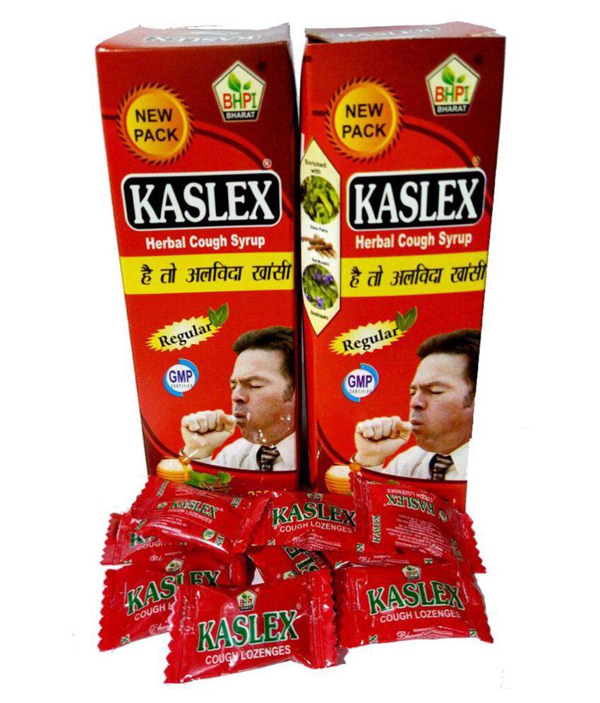 HERBOMEDS Kaslex Cough Syrup Free 10 Kaslex Loz. Liquid 400 ml Pack Of 2