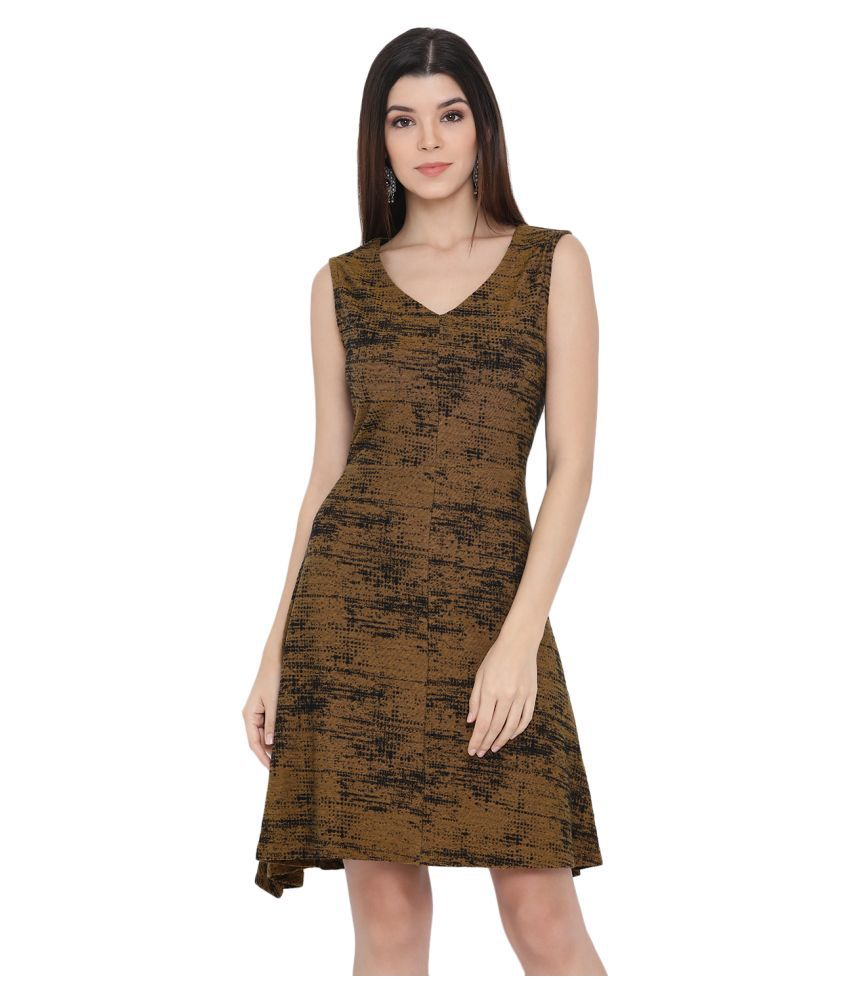 Monte Carlo Poly Cotton Brown Fit And Flare Dress