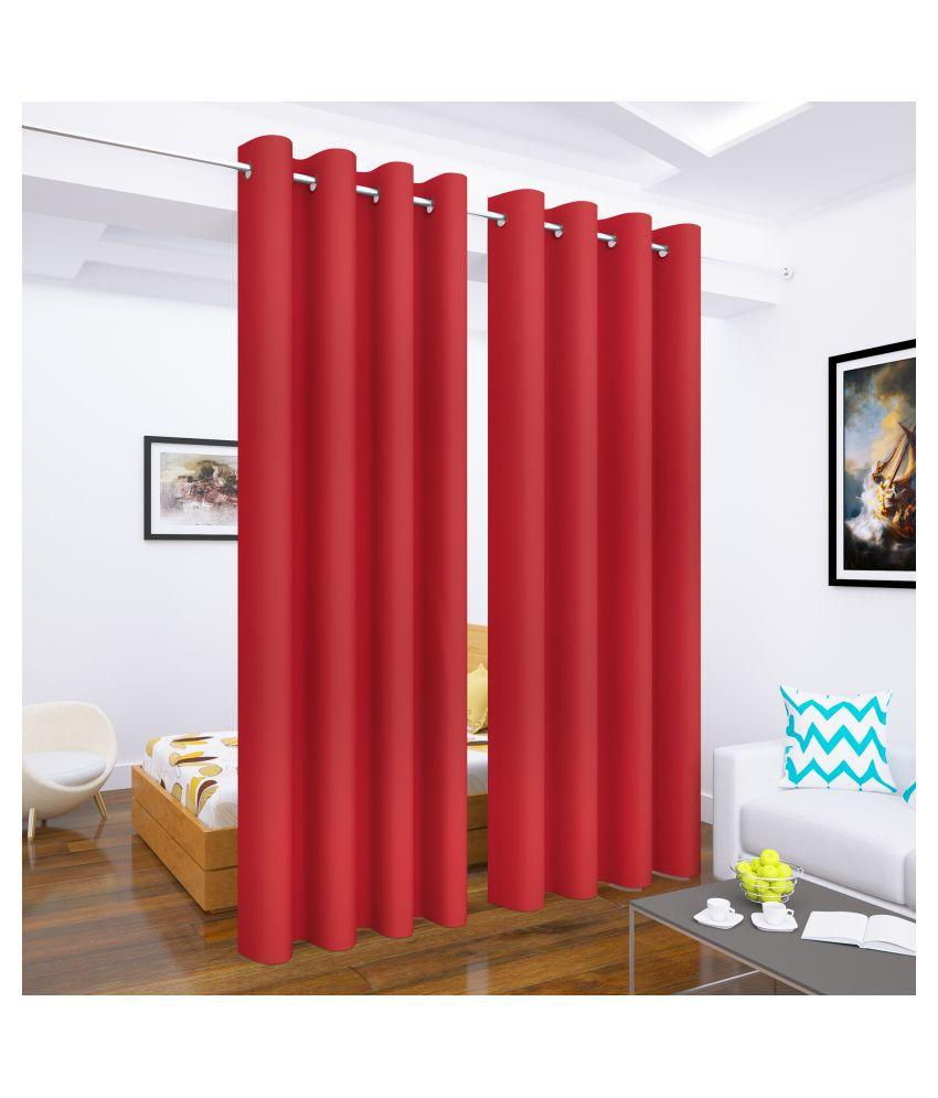 Story@Home Set of 2 Long Door Blackout Room Darkening Eyelet Silk Curtains Red