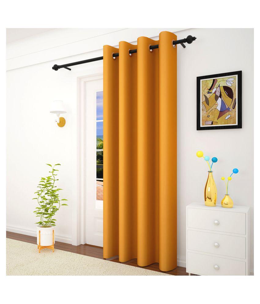 Story@Home Single Door Blackout Room Darkening Eyelet Silk Curtains Mustard
