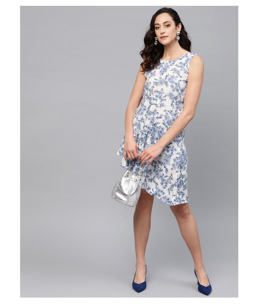 myshka Polyester Blue Fit And Flare Dress