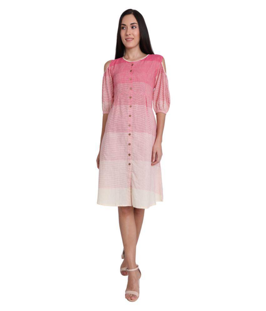 Leofab Cotton Pink Skater Dress