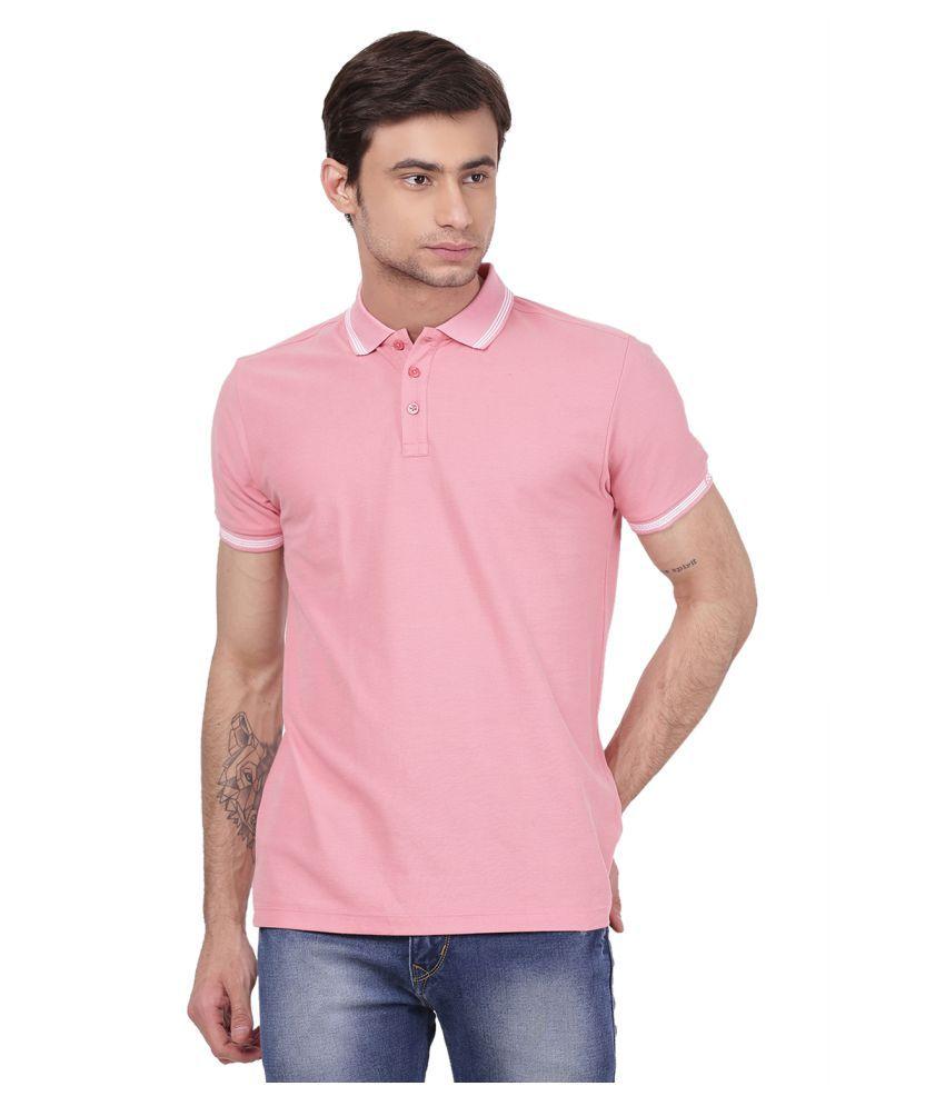 2Bme 100 Percent Cotton Peach Plain Polo T Shirt
