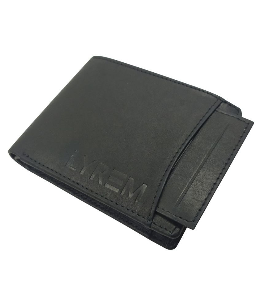 LYREM Leather Black Formal Regular Wallet
