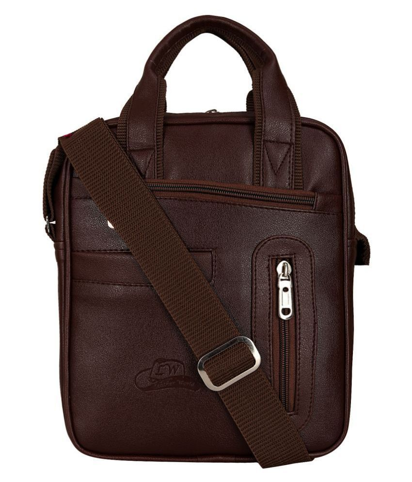 Leather Gifts Brown Casual Messenger Bag