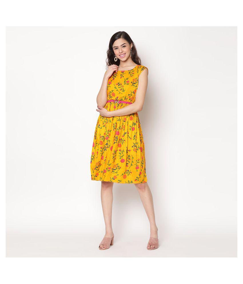 V2 Rayon Yellow Regular Dress