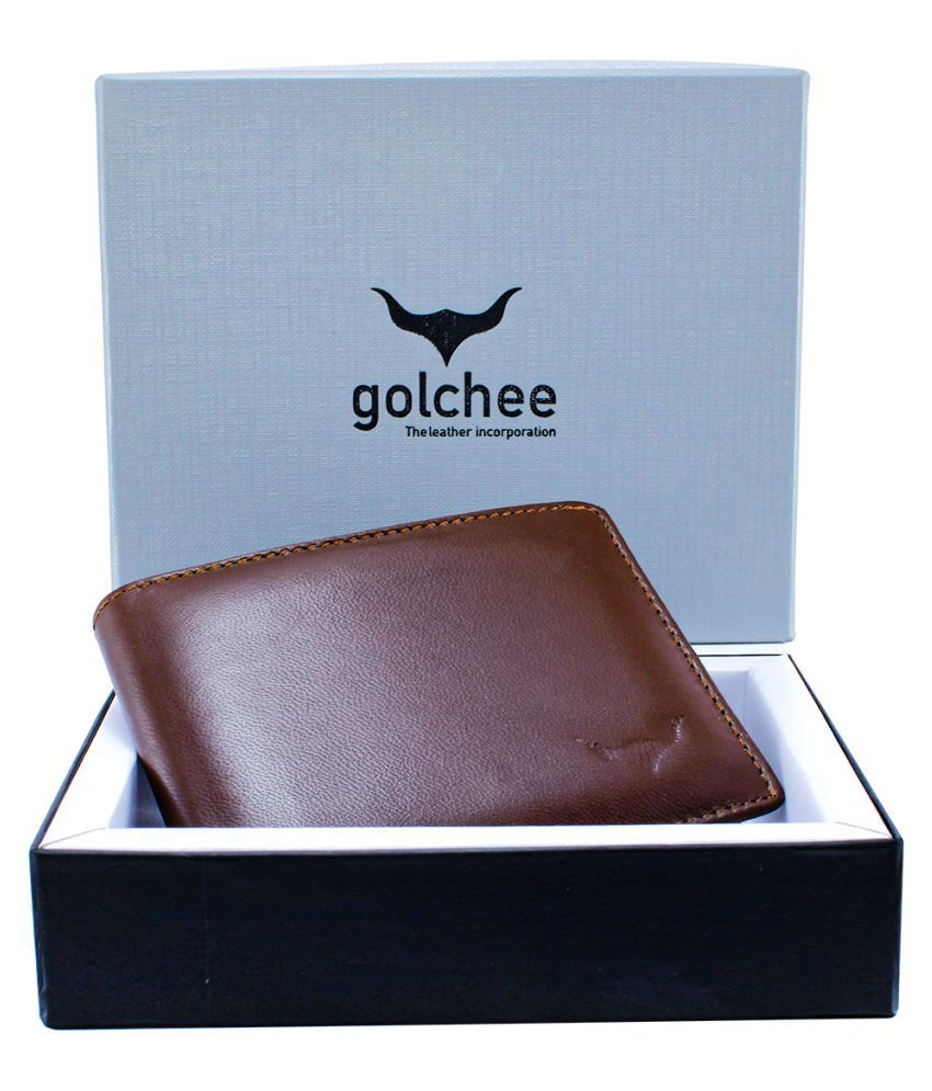Golchee International Leather Brown Formal Regular Wallet