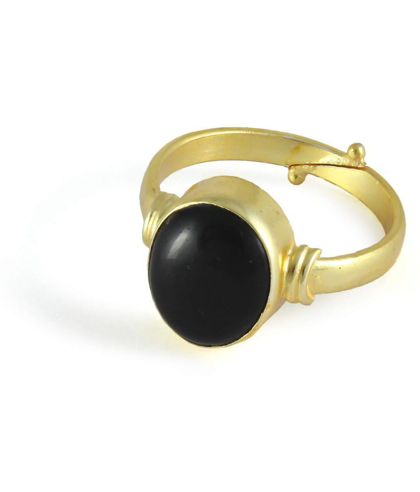 Todani Jems® 11.25 Ratti 10.62 Carat Black Agate/Kali Hakik Sulemani Stone Adjustable Ring Gold Plated 100% Gemstone by Lab Certified(Top AAA+) Quality