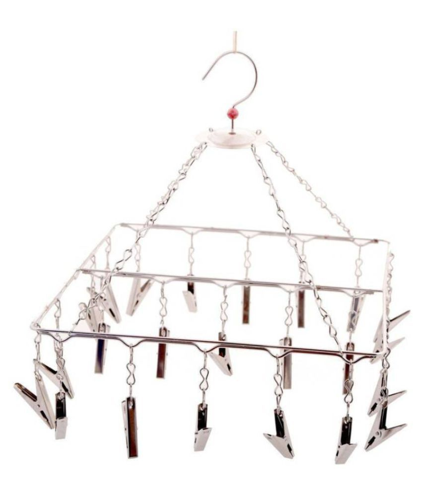 FAVOUR  Stainless steel square Cloth Dryer/Baby Hanger/Clothes drying Stand/Hanger with Clips (Clothes Peg) (25 clips)