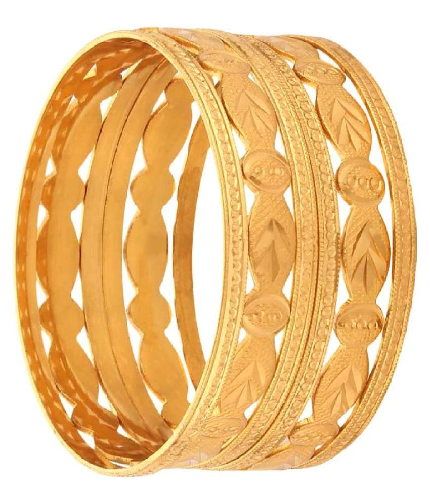 Shine Art Traditional Designer Cut Work Gold Plated Bangles Set of 6 Pcs for Women