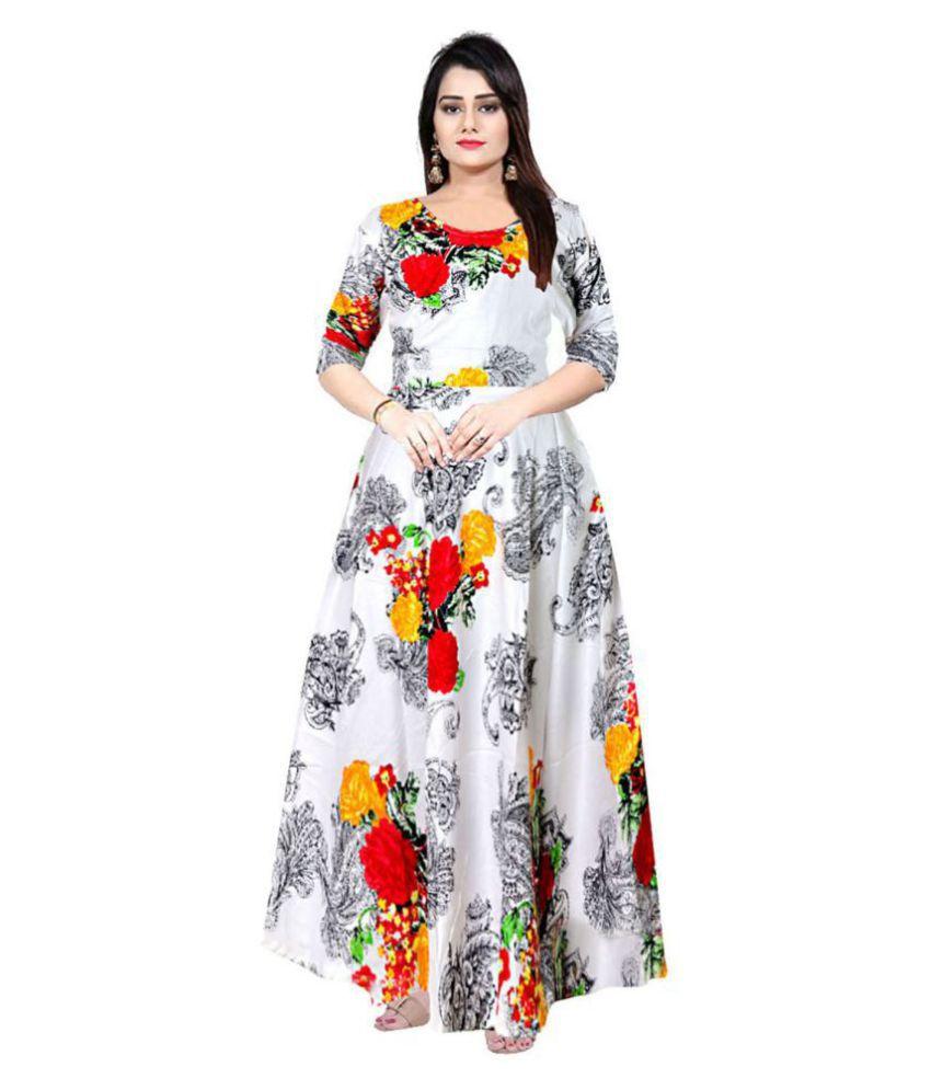 JWF Rayon White A- line Dress