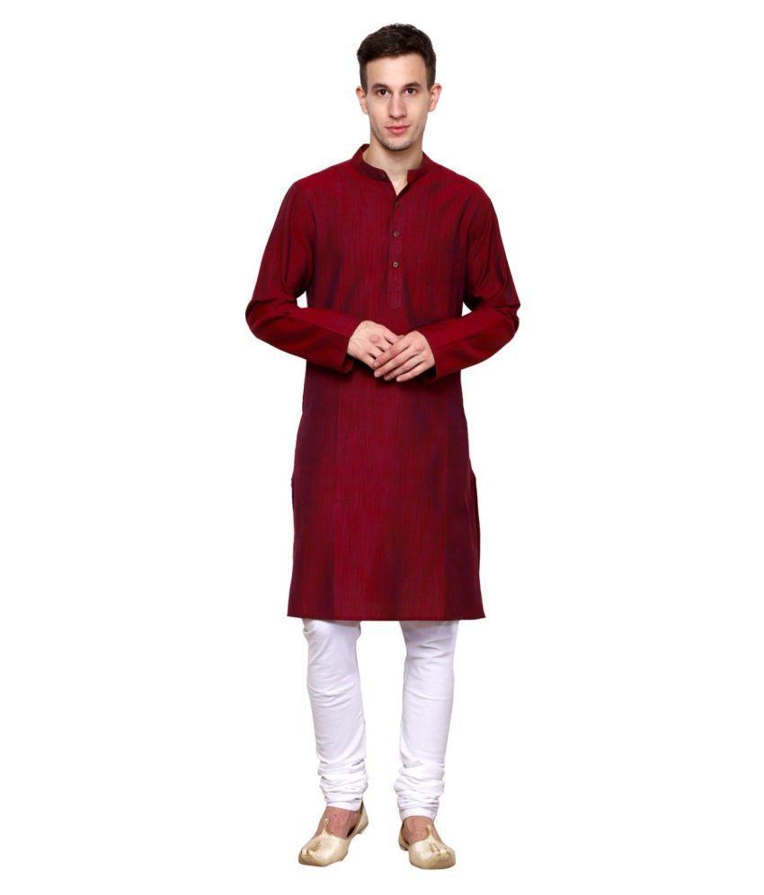 NEUDIS Red Cotton Kurta Pyjama Set Single Pack