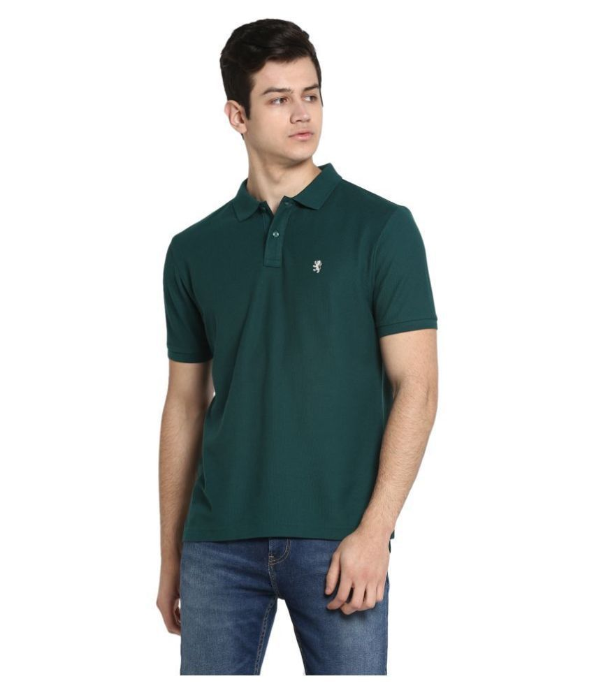 Red Tape 100 Percent Cotton Green Plain Polo T Shirt