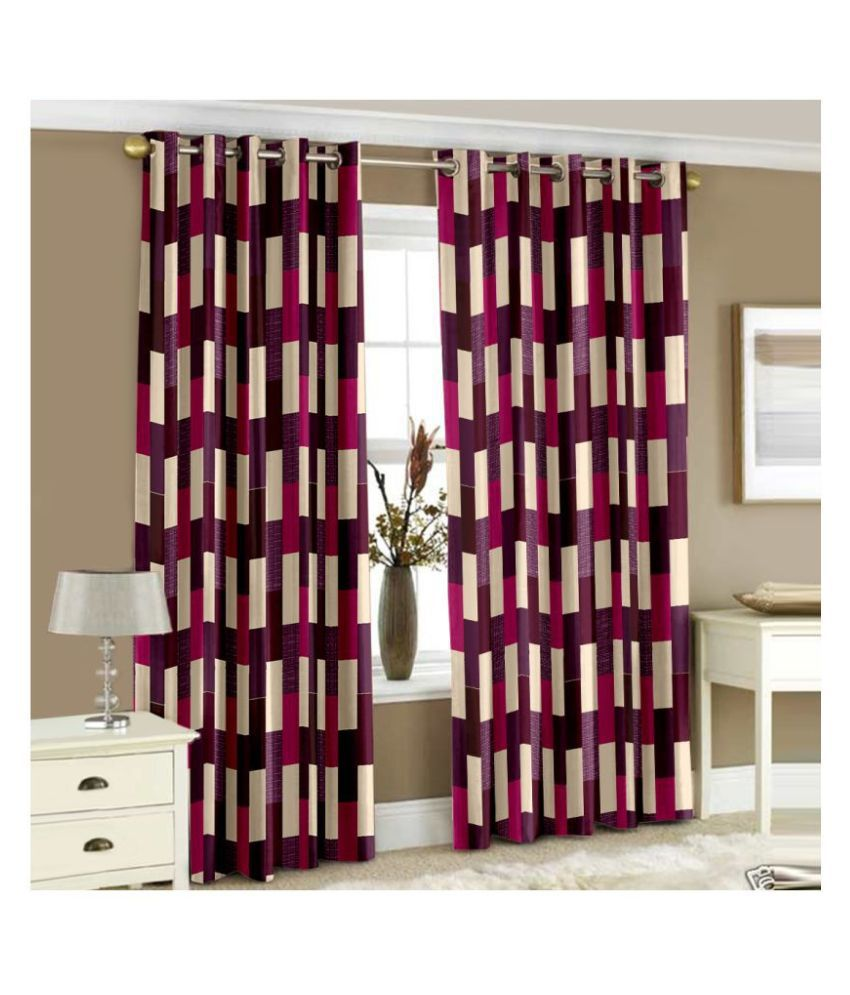 Story@Home Set of 2 Window Blackout Eyelet Polyester Curtains Purple