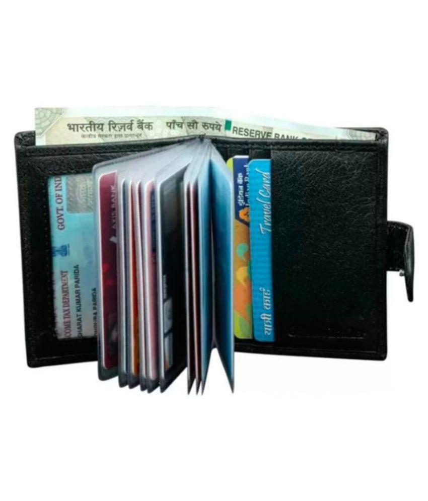 Hide&Sleek Button Black Card Holder