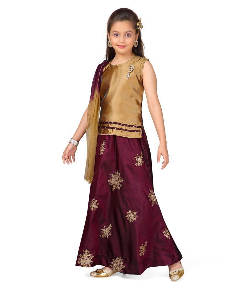 Aarika Girl's gold coloured Ethnic Wear Lehenga Choli and  Dupatta with Unstich Sleeve