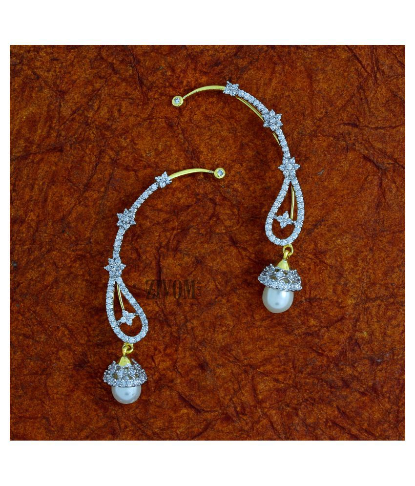 ZIVOM Stylish Floral Pearl American Diamond CZ Earr Cuf 18K Gold Earring for Girls Women