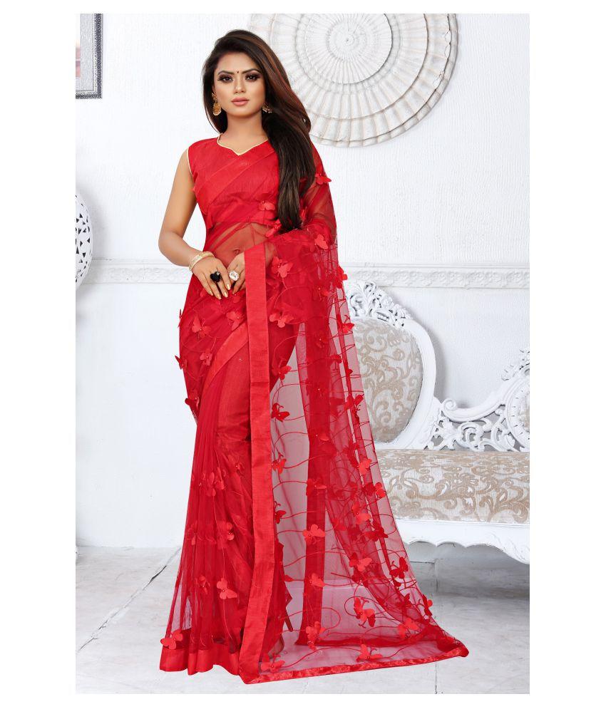 Gazal Fashions Red Net Saree
