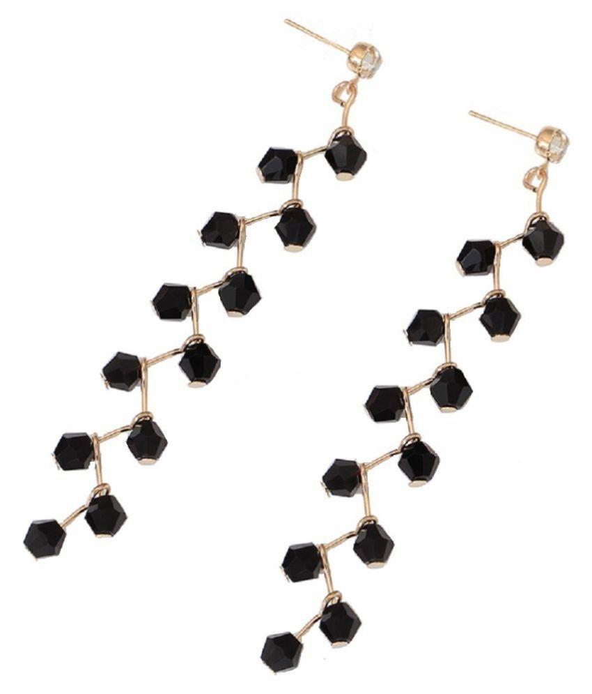 Fabula Jewellery Black Beads Delicate Drop Fashion Earrings For Women & Girls