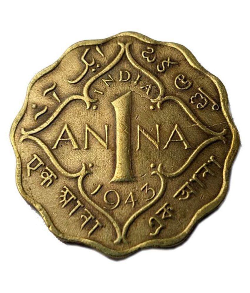 Old Very Rare 1 ANNA coin 1943
