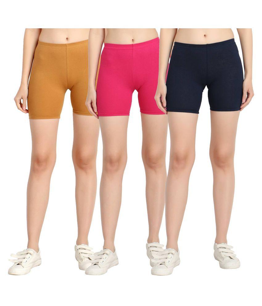 Diaz Multi Color Cotton Lycra Solid Shorts