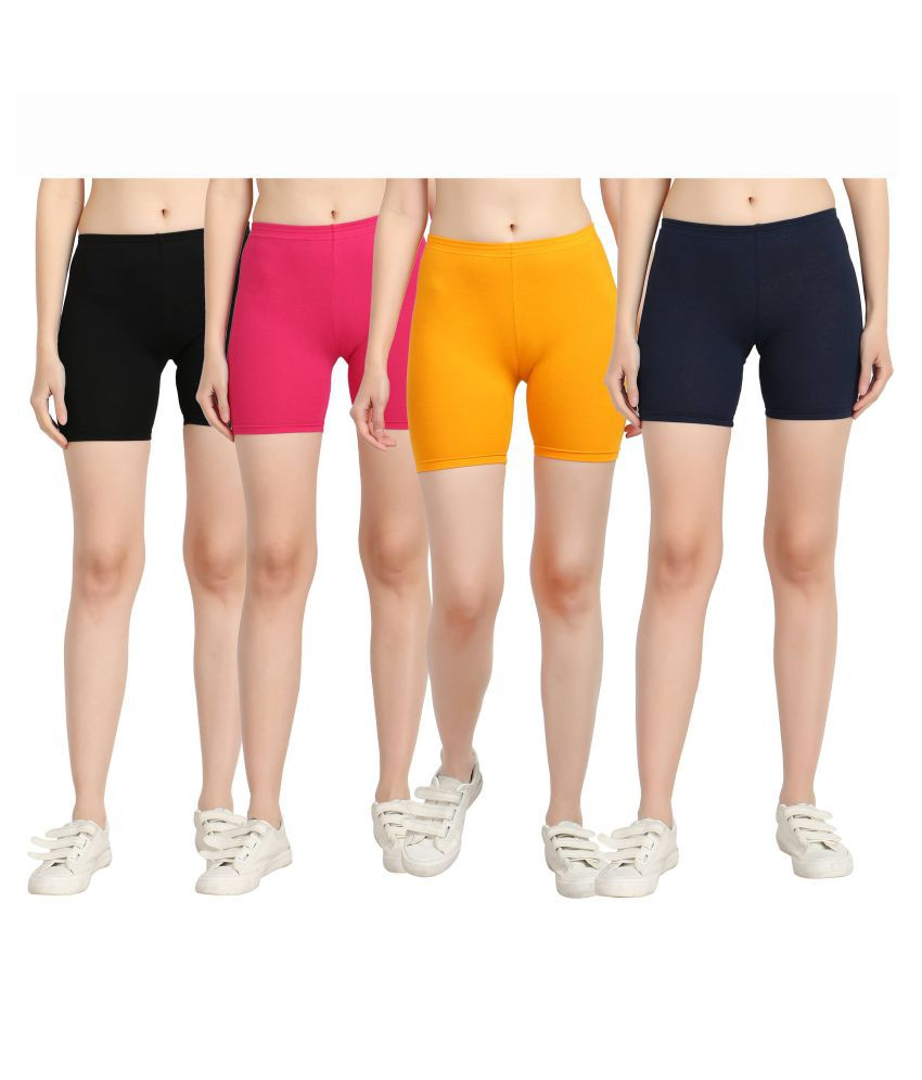 Diaz Multi Color Cotton Lycra Solid Shorts
