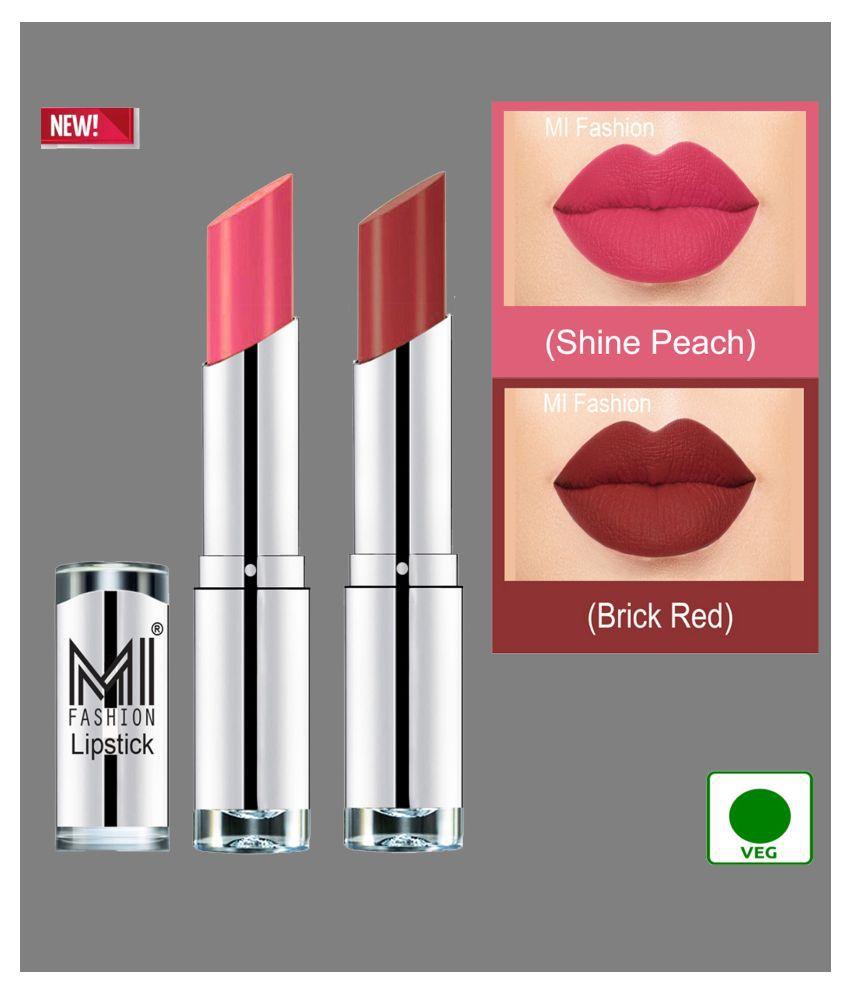MI FASHION 100% Veg Soft Matte Long Stay Lipstick Combo Brick Red & Peach Pack of 2 7 g