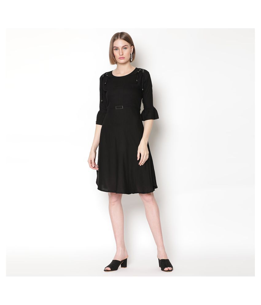 V2 Rayon Black Regular Dress
