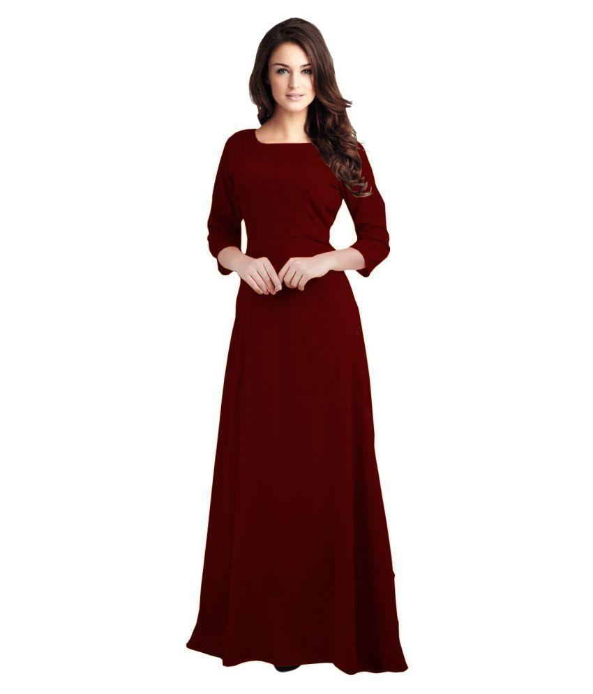 Ritsila Rayon Maroon A- line Dress