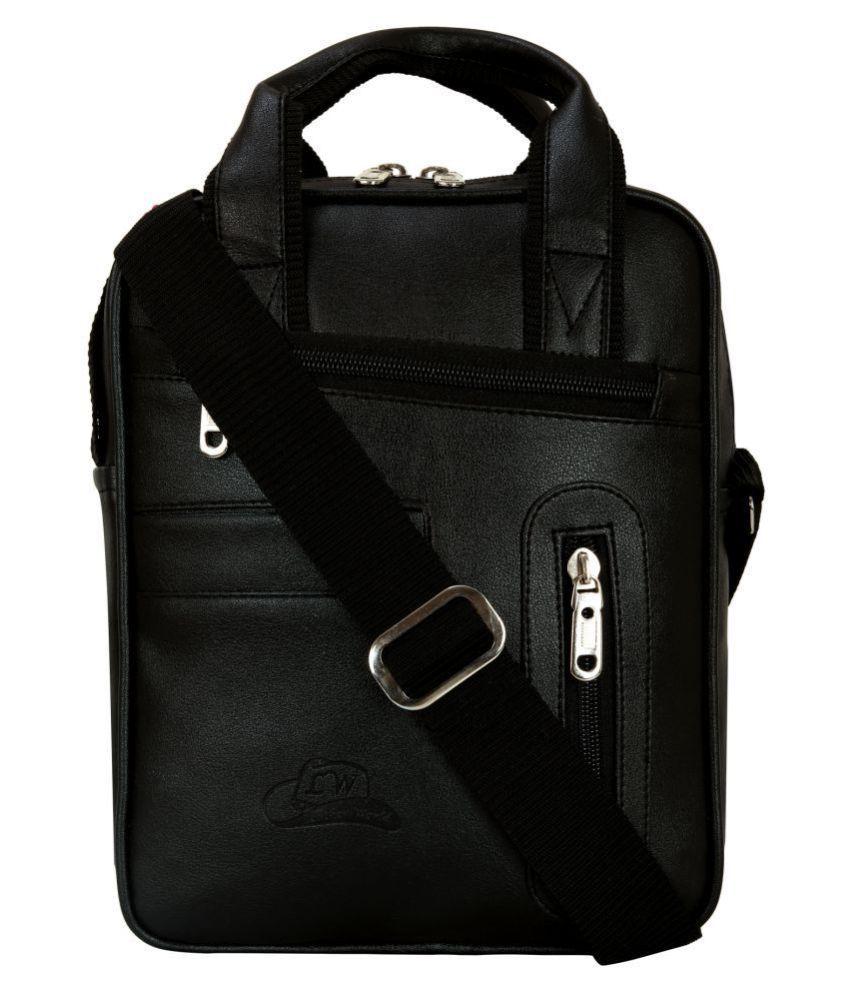 Leather World Sling Bag Black P.U. Casual Messenger Bag