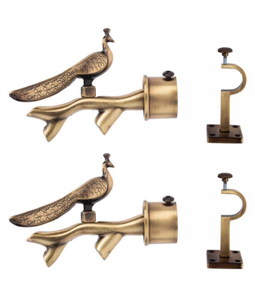casa gold Set of 4 Brass Single Rod Bracket