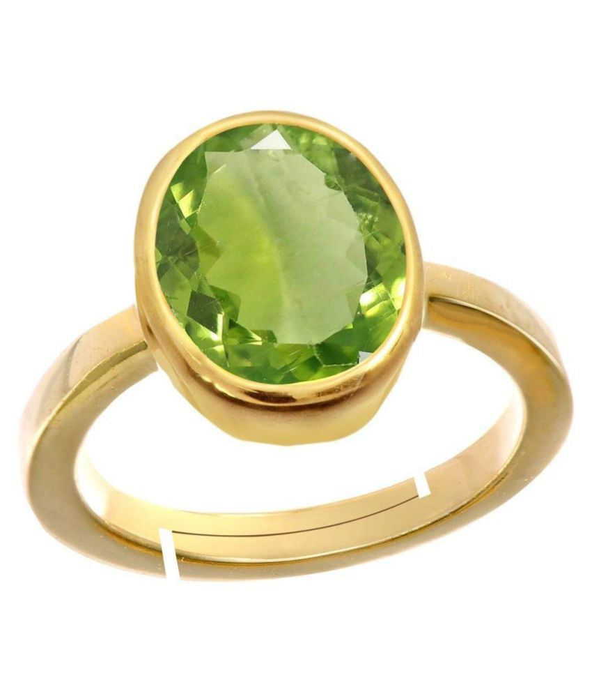 Laxmi Gems 11.25 Ratti 100% Certified Deluxe Quality Natural Peridot Stone Gold Plated Adjustable Ring (Free Size Anguthi) 100% Gemstone By Lab Certified(Top AAA+) Quality For Unisex