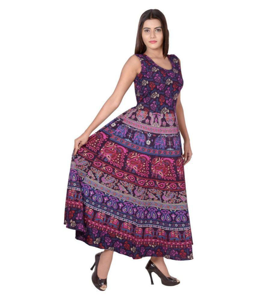 Rangun Cotton Purple Regular Dress