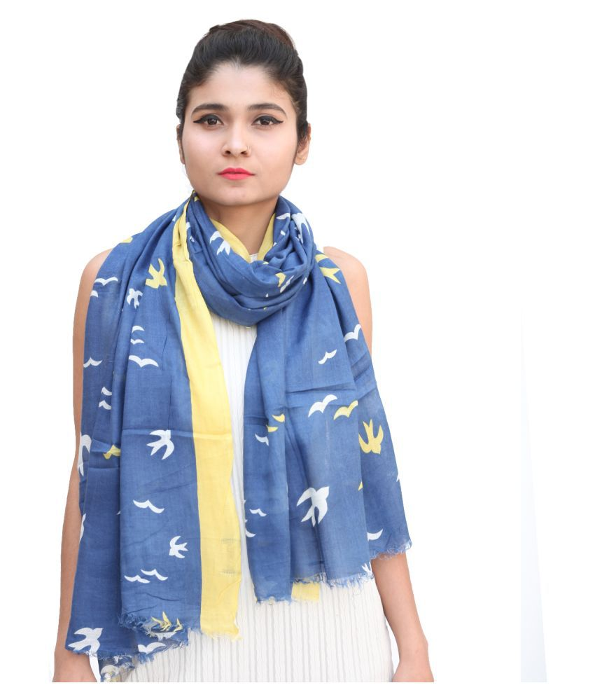 Arado Blue Printed Poly Cotton Yarn Stoles