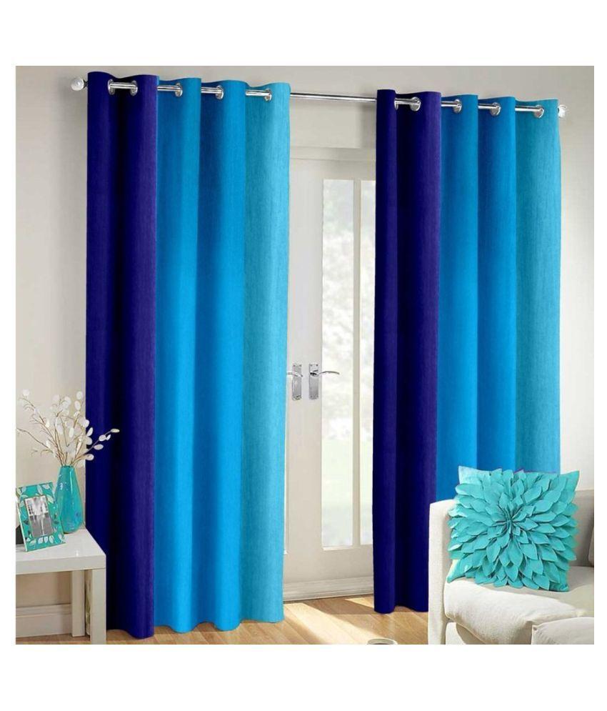 Homefab India Set of 2 Window Blackout Room Darkening Eyelet Polyester Curtains Blue