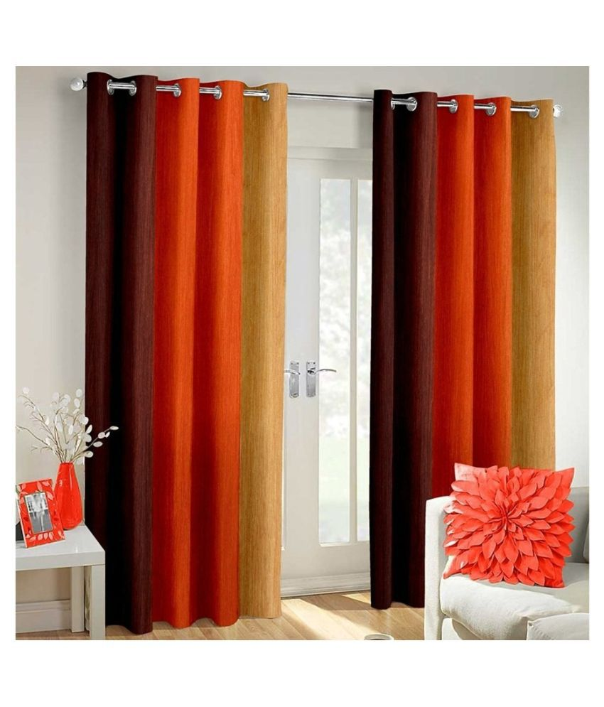 Homefab India Set of 2 Door Blackout Room Darkening Eyelet Polyester Curtains Orange