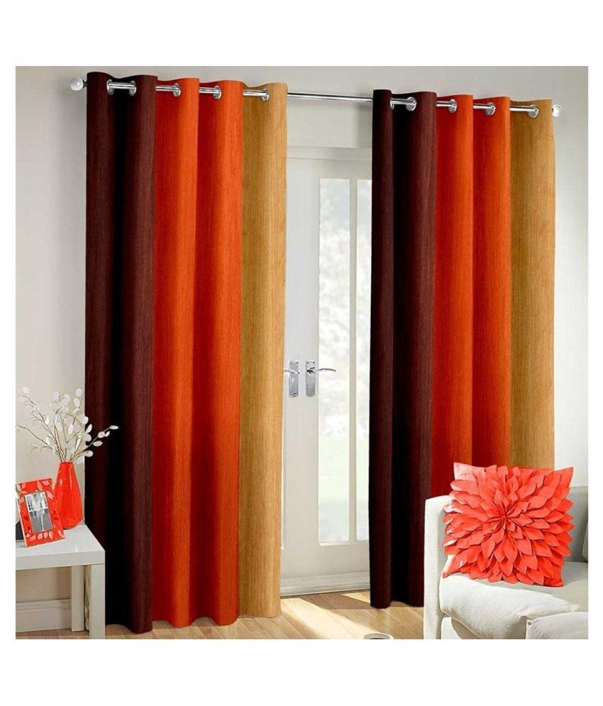 Homefab India Set of 2 Window Blackout Room Darkening Eyelet Polyester Curtains Orange