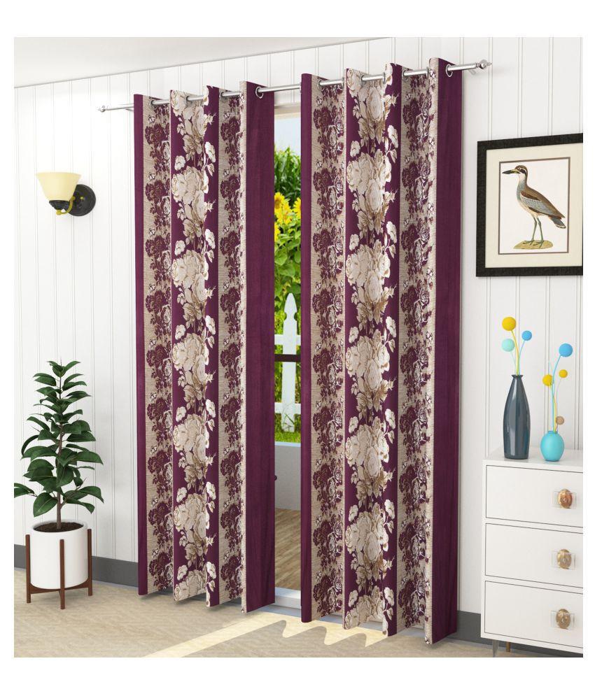 Homefab India Set of 2 Long Door Blackout Room Darkening Eyelet Polyester Curtains Wine