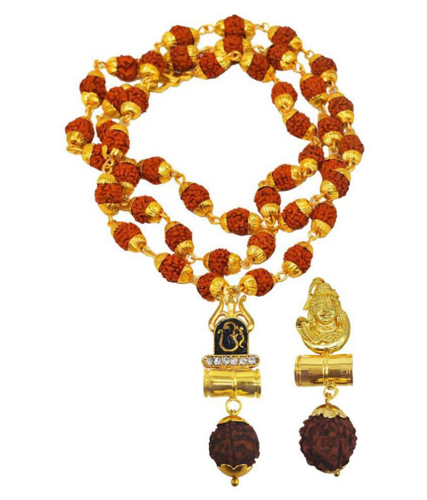 Men Style Religious Jewellery Om Trishul Shiv Gold Brown Brass Wood Pendant with Rudraksha Mala