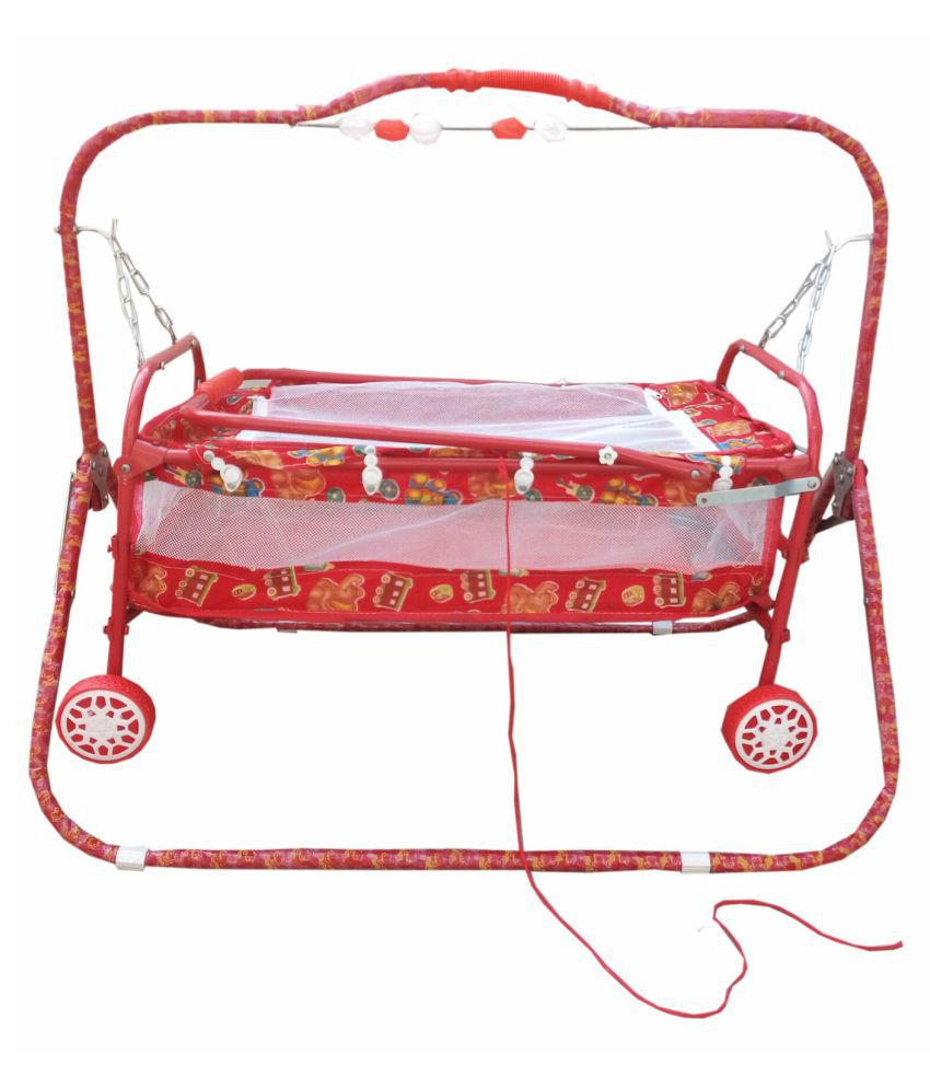 Baby'' Baby  multicolor  best on super quality cradles and bassinet (JHULLA and PALNA) ,crib cum stroller,  with mosquito net with running baggi 4 wheels for your kids