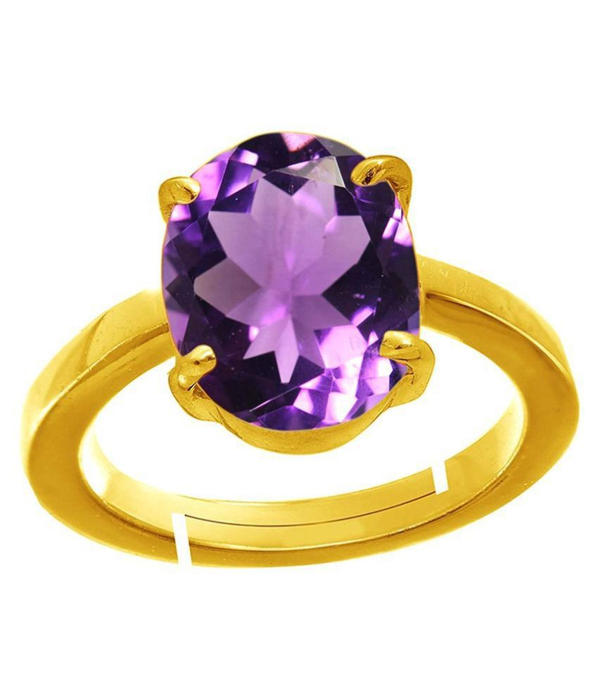 Laxmi 11.25 Ratti Amethyst Gold Plated Ring Katela Ring Certified Purple Oval Cut Natural Jamuniya Stone Ring Astrological February Birthstone Adjustable Ring