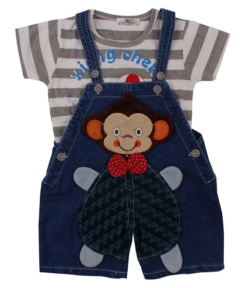 Icable Baby Boys Kids Wear High Quality Half Sleeves Soft Denim Dungaree Set T-Shirt
