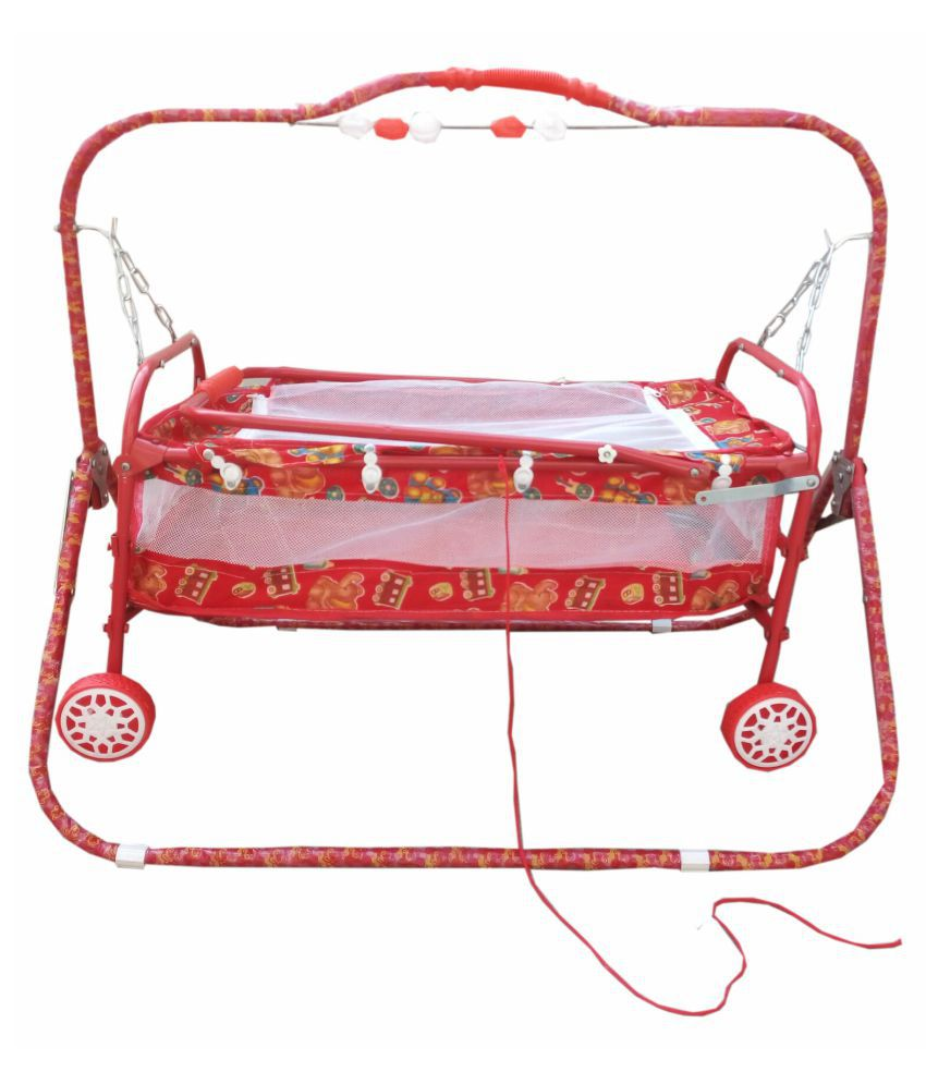 'Oh Baby'' Baby  multicolor  best on super quality cradles and bassinet (JHULLA and PALNA) ,crib cum stroller,  with mosquito net with running baggi 4 wheels for your kids