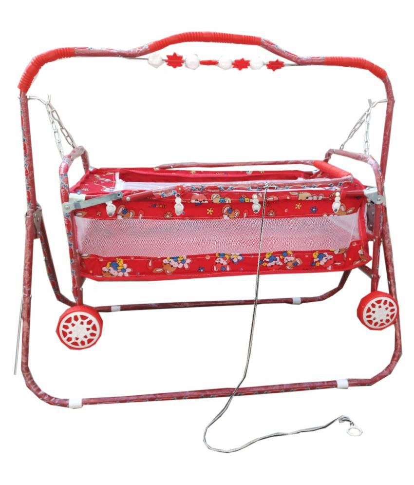 Oh Baby'' Baby  multicolor  best on super quality cradles and bassinet (JHULLA and PALNA) ,crib cum stroller,  with mosquito net with running baggi 4 wheels for your kids
